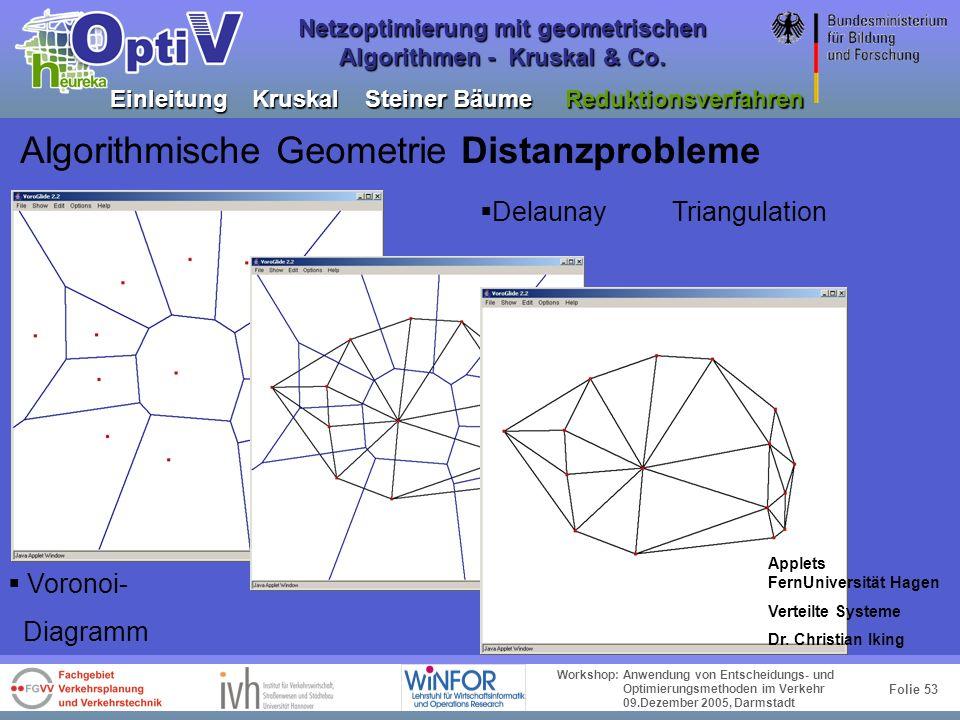 Folie 52 Workshop: Anwendung von Entscheidungs- und Optimierungsmethoden im Verkehr 09.Dezember 2005, Darmstadt Netzoptimierung mit geometrischen Algo