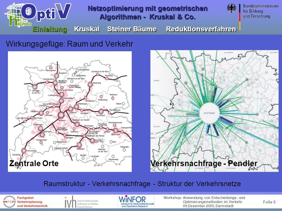 Folie 5 Workshop: Anwendung von Entscheidungs- und Optimierungsmethoden im Verkehr 09.Dezember 2005, Darmstadt Netzoptimierung mit geometrischen Algor