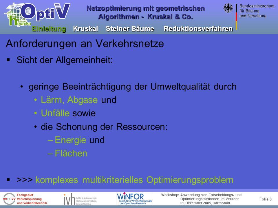 Folie 7 Workshop: Anwendung von Entscheidungs- und Optimierungsmethoden im Verkehr 09.Dezember 2005, Darmstadt Netzoptimierung mit geometrischen Algor