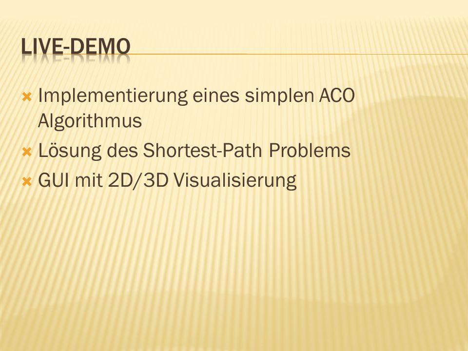 Implementierung eines simplen ACO Algorithmus Lösung des Shortest-Path Problems GUI mit 2D/3D Visualisierung