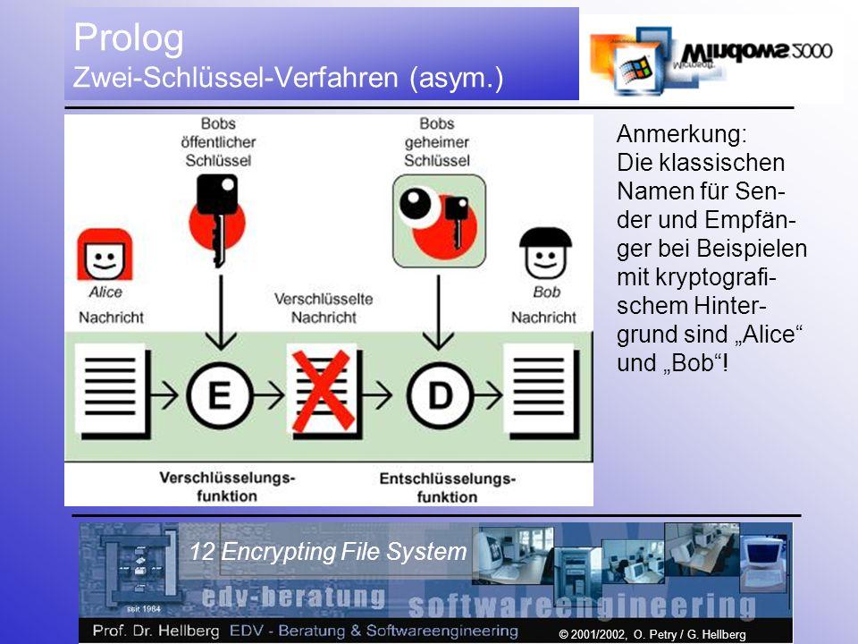 © 2001/2002, O. Petry / G. Hellberg 12 Encrypting File System Prolog Zwei-Schlüssel-Verfahren (asym.) Anmerkung: Die klassischen Namen für Sen- der un