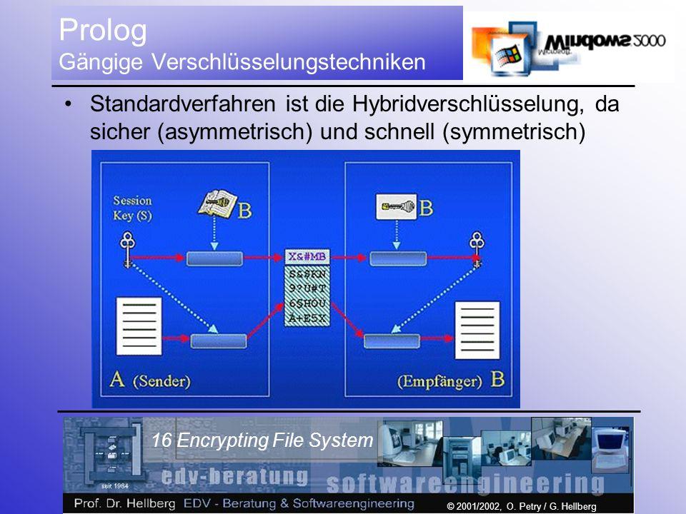 © 2001/2002, O. Petry / G. Hellberg 16 Encrypting File System Prolog Gängige Verschlüsselungstechniken Standardverfahren ist die Hybridverschlüsselung