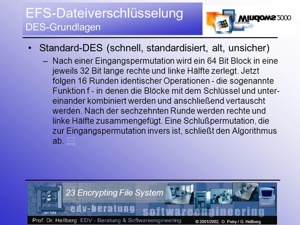 © 2001/2002, O. Petry / G. Hellberg 23 Encrypting File System EFS-Dateiverschlüsselung DES-Grundlagen Standard-DES (schnell, standardisiert, alt, unsi