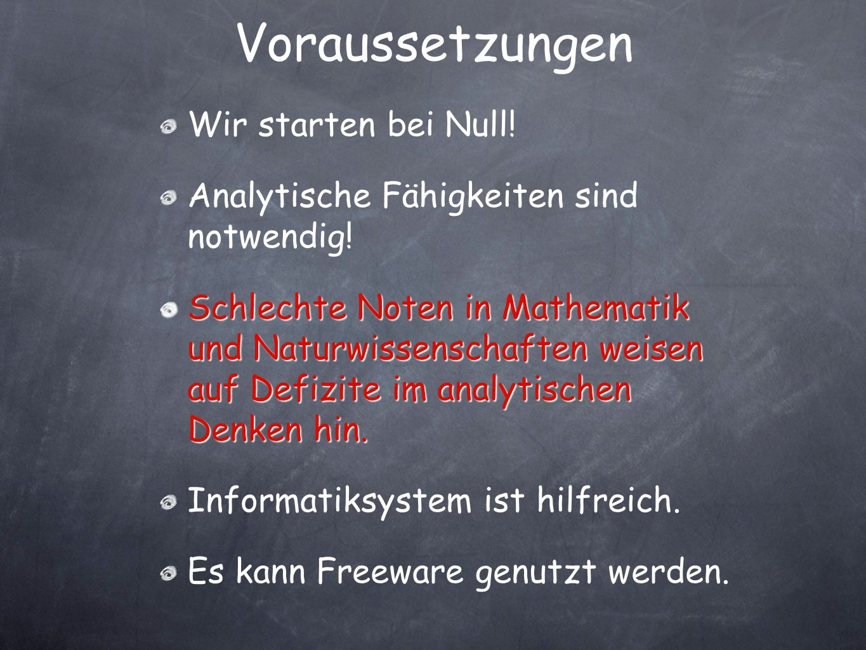 Wir starten bei Null! Analytische Fähigkeiten sind notwendig! Schlechte Noten in Mathematik und Naturwissenschaften weisen auf Defizite im analytische
