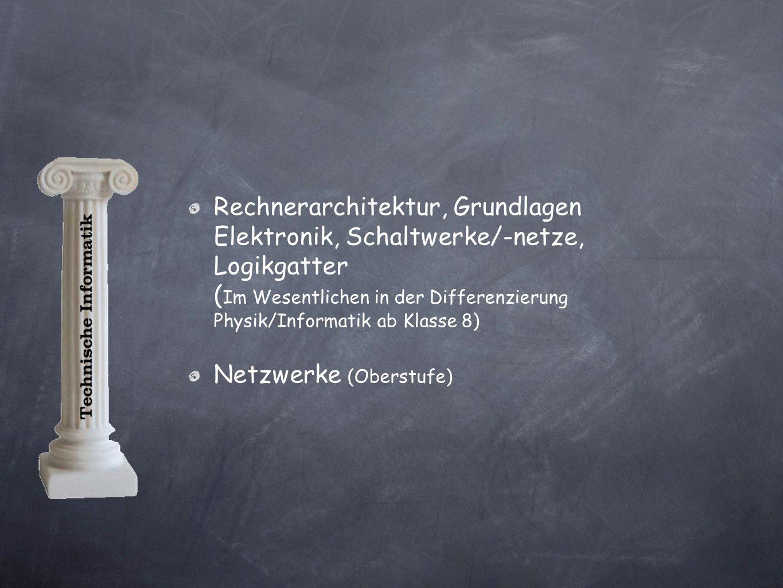 Rechnerarchitektur, Grundlagen Elektronik, Schaltwerke/-netze, Logikgatter ( Im Wesentlichen in der Differenzierung Physik/Informatik ab Klasse 8) Netzwerke (Oberstufe)