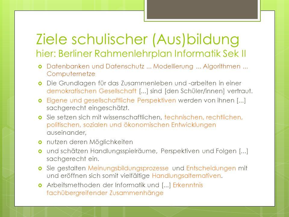 Ziele schulischer (Aus)bildung hier: Berliner Rahmenlehrplan Informatik Sek II Datenbanken und Datenschutz... Modellierung... Algorithmen... Computern