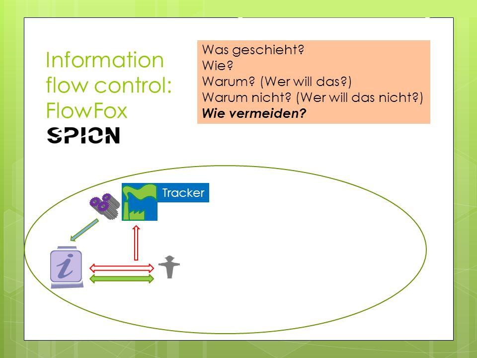 Information flow control: FlowFox Tracker Was geschieht? Wie? Warum? (Wer will das?) Warum nicht? (Wer will das nicht?) Wie vermeiden?