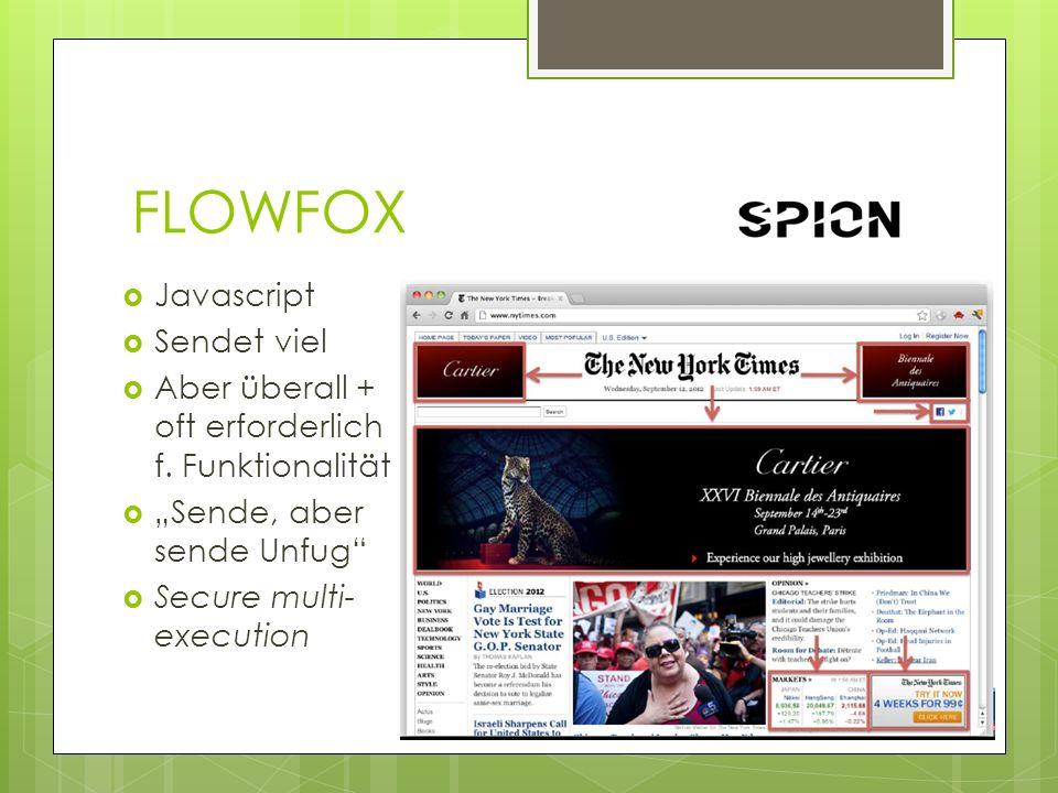 FLOWFOX Javascript Sendet viel Aber überall + oft erforderlich f. Funktionalität Sende, aber sende Unfug Secure multi- execution
