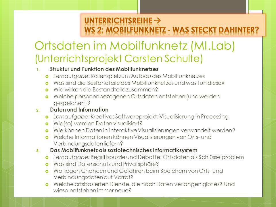 Ortsdaten im Mobilfunknetz (MI.Lab) (Unterrichtsprojekt Carsten Schulte) 1. Struktur und Funktion des Mobilfunknetzes Lernaufgabe: Rollenspiel zum Auf