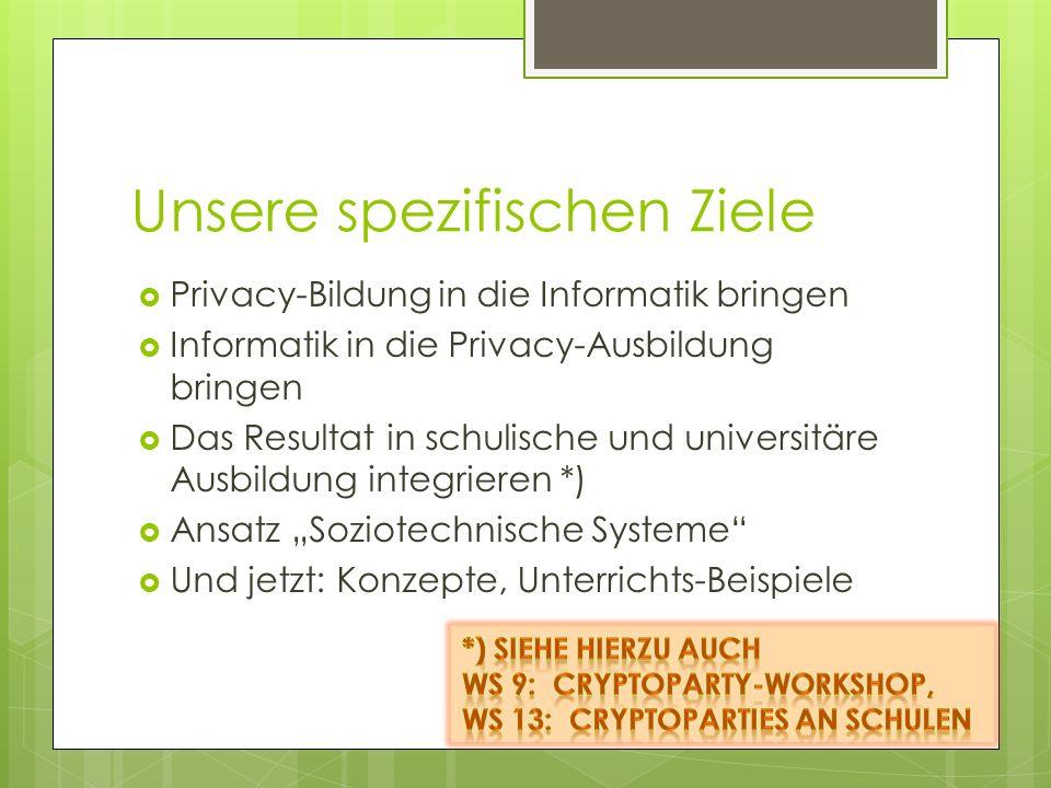 Unsere spezifischen Ziele Privacy-Bildung in die Informatik bringen Informatik in die Privacy-Ausbildung bringen Das Resultat in schulische und univer