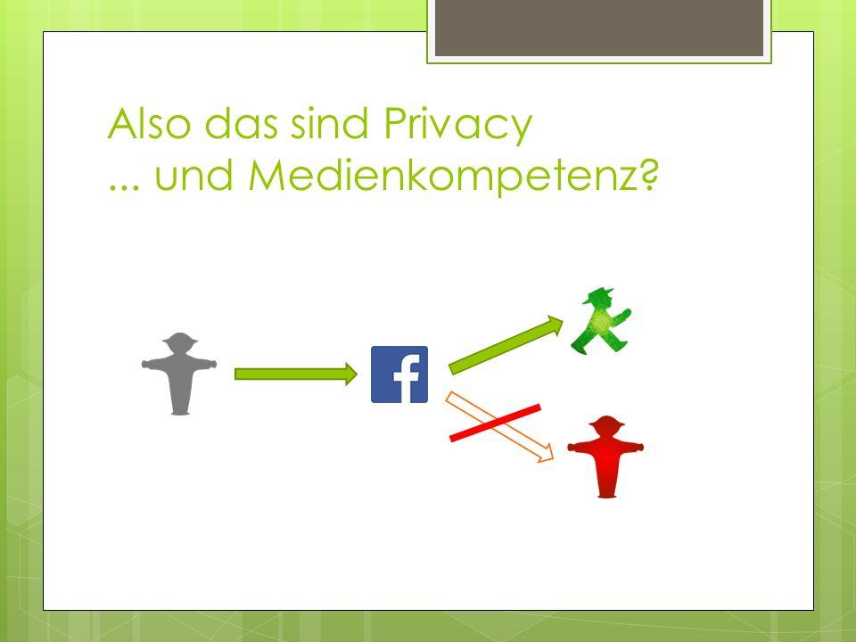 Also das sind Privacy... und Medienkompetenz?