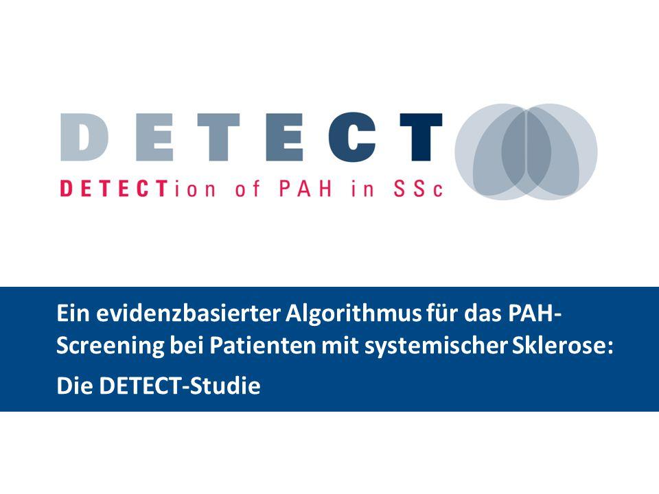 Auswirkungen des PAH-Screenings bei SSc: Hämodynamik bei Diagnosestellung der PAH Routine-Kohorte (n = 16) Diagnostizierte Kohorte (n = 16) p-Wert RAP (mmHg) 9 ± 66 ± 40,02 mPAP (mmHg) 47 ± 1234 ± 90,02 mPCWP (mmHg) 8 ± 49 ± 30,72 Herzzeitvolumen (l/min) 3,74 ± 1,255,53 ± 0,810,009 Herzindex (l/min/m 2 ) 2,55 ± 1,013,06 ± 0,750,14 PVRI (dyn/sec/cm 5 /m 2 ) 1.299 ± 428734 ± 4860,01 Bei den Werten handelt es sich um Mittelwerte ± Standardabweichung.