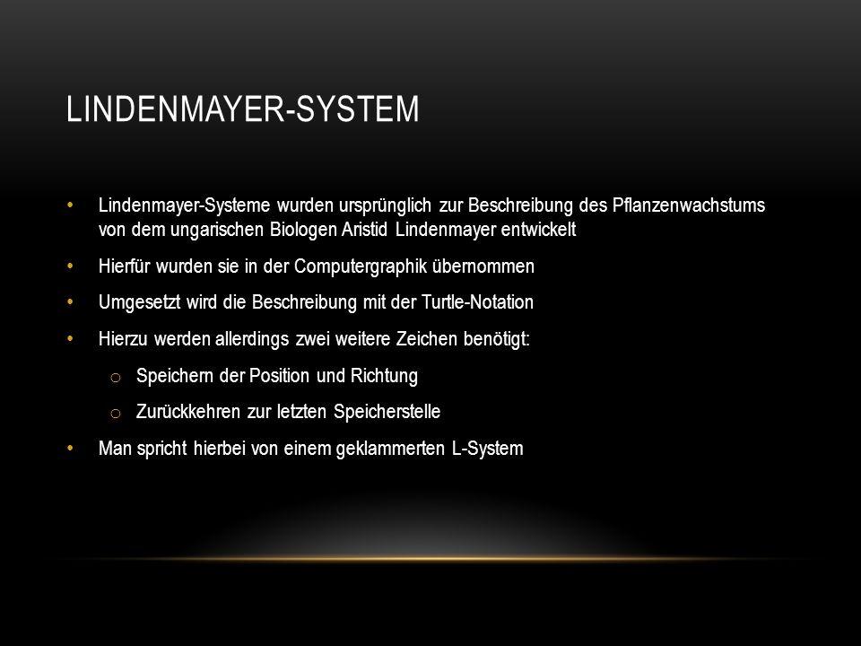 LINDENMAYER-SYSTEM Lindenmayer-Systeme wurden ursprünglich zur Beschreibung des Pflanzenwachstums von dem ungarischen Biologen Aristid Lindenmayer ent