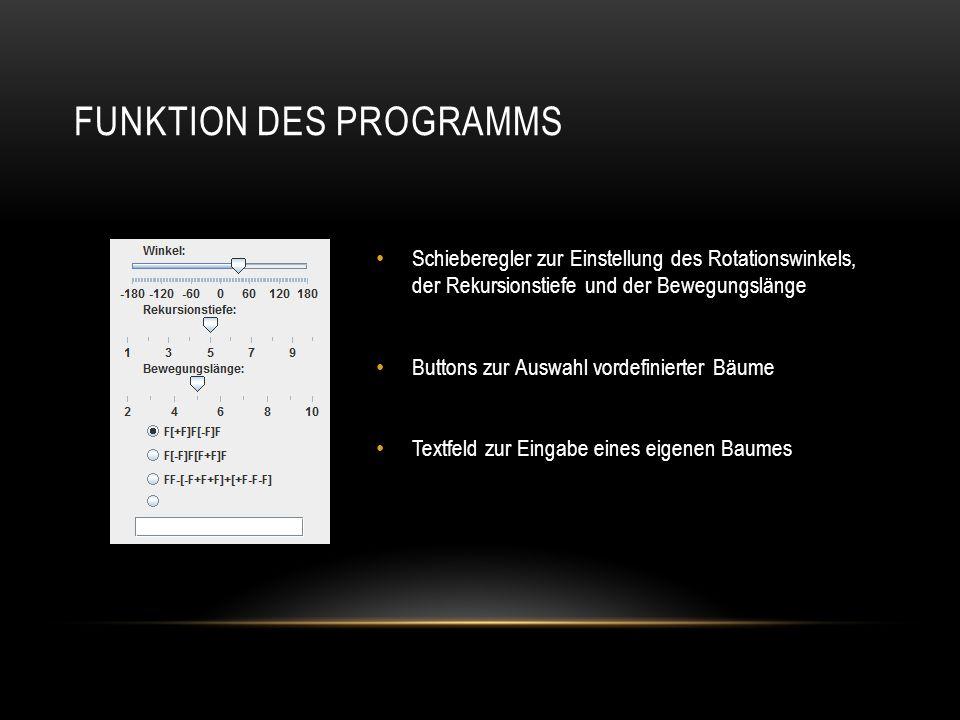 FUNKTION DES PROGRAMMS Schieberegler zur Einstellung des Rotationswinkels, der Rekursionstiefe und der Bewegungslänge Buttons zur Auswahl vordefiniert