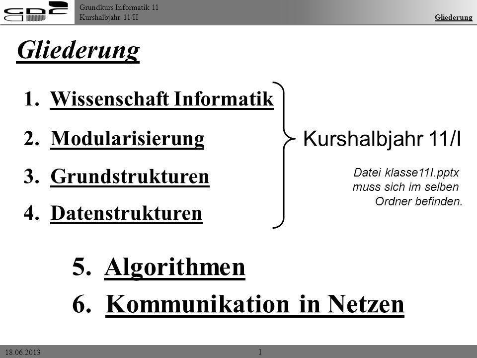 Grundkurs Informatik 11 Kurshalbjahr 11/II 18.06.2013 Gliederung 1 1. Wissenschaft Informatik 2. Modularisierung 3. Grundstrukturen 6. Kommunikation i