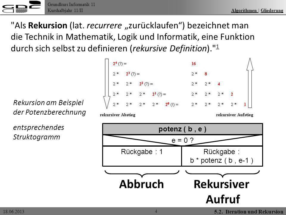 Grundkurs Informatik 11 Kurshalbjahr 11/II 18.06.2013 6.1.