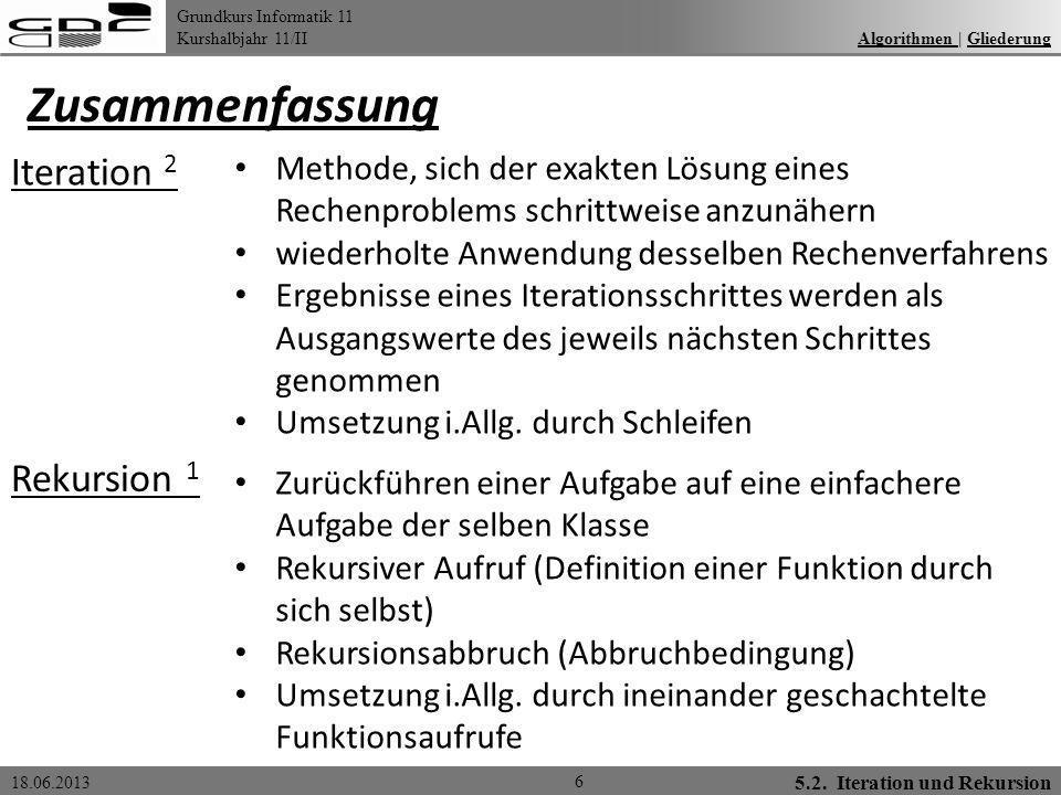 Grundkurs Informatik 11 Kurshalbjahr 11/II 18.06.2013 Zusammenfassung 6 Algorithmen | GliederungAlgorithmen Gliederung Iteration 2 2 Methode, sich der