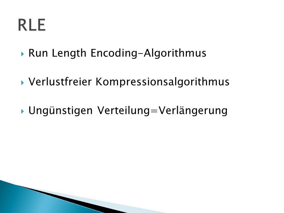 Run Length Encoding-Algorithmus Verlustfreier Kompressionsalgorithmus Ungünstigen Verteilung=Verlängerung