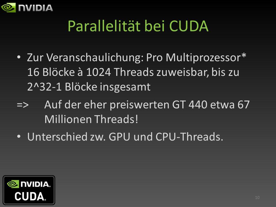Parallelität bei CUDA Zur Veranschaulichung: Pro Multiprozessor* 16 Blöcke à 1024 Threads zuweisbar, bis zu 2^32-1 Blöcke insgesamt => Auf der eher pr