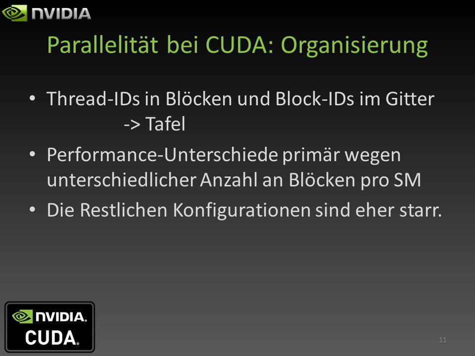 Parallelität bei CUDA: Organisierung Thread-IDs in Blöcken und Block-IDs im Gitter -> Tafel Performance-Unterschiede primär wegen unterschiedlicher An
