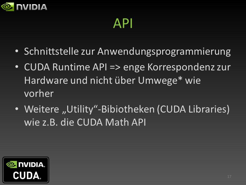API Schnittstelle zur Anwendungsprogrammierung CUDA Runtime API => enge Korrespondenz zur Hardware und nicht über Umwege* wie vorher Weitere Utility-B