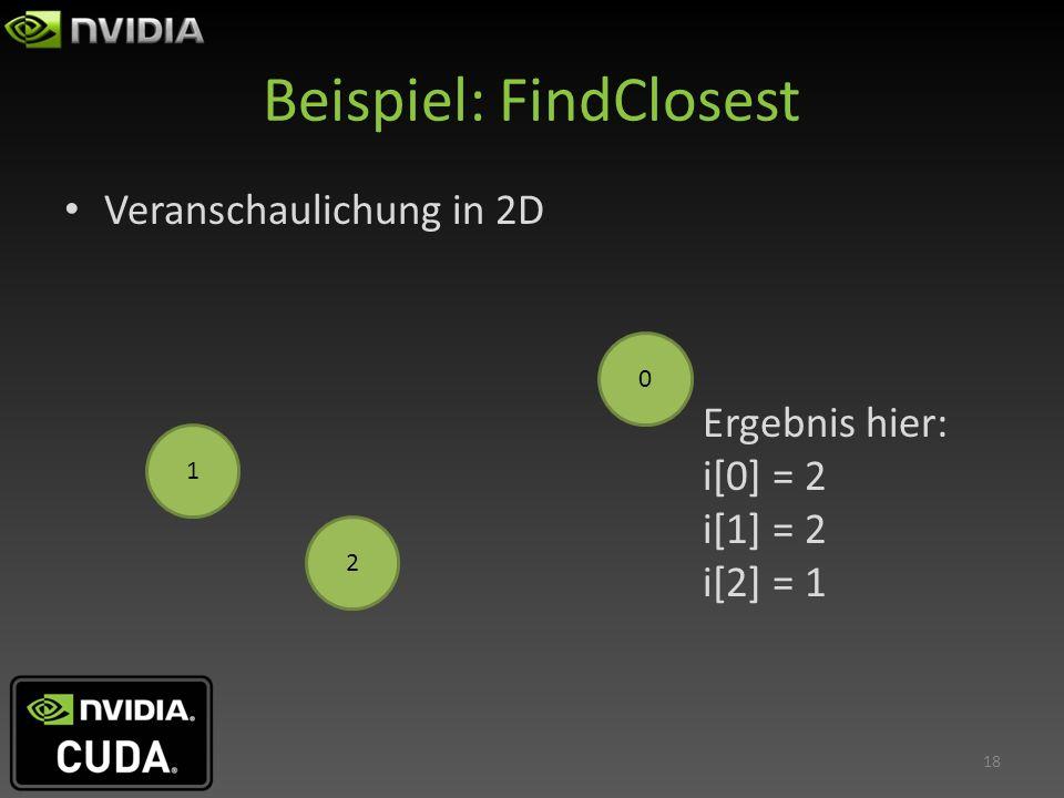 Beispiel: FindClosest Veranschaulichung in 2D Ergebnis hier: i[0] = 2 i[1] = 2 i[2] = 1 18 1 2 0