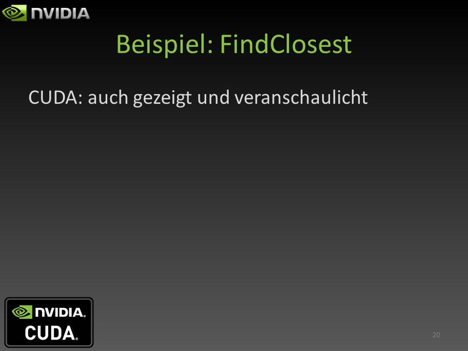 Beispiel: FindClosest CUDA: auch gezeigt und veranschaulicht 20