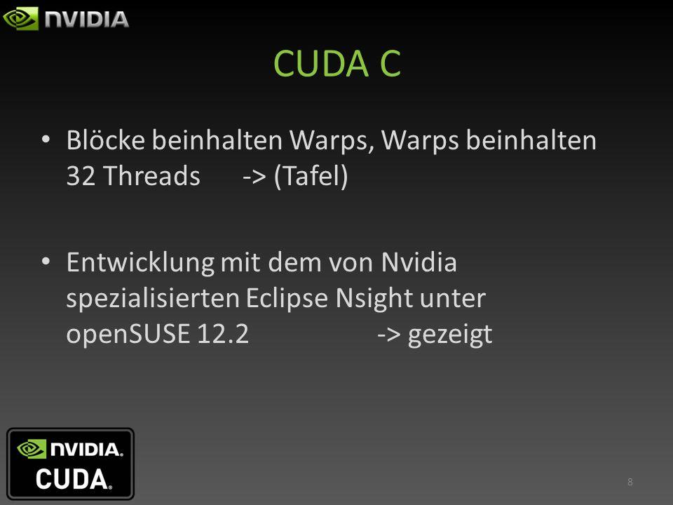 CUDA C Blöcke beinhalten Warps, Warps beinhalten 32 Threads -> (Tafel) Entwicklung mit dem von Nvidia spezialisierten Eclipse Nsight unter openSUSE 12