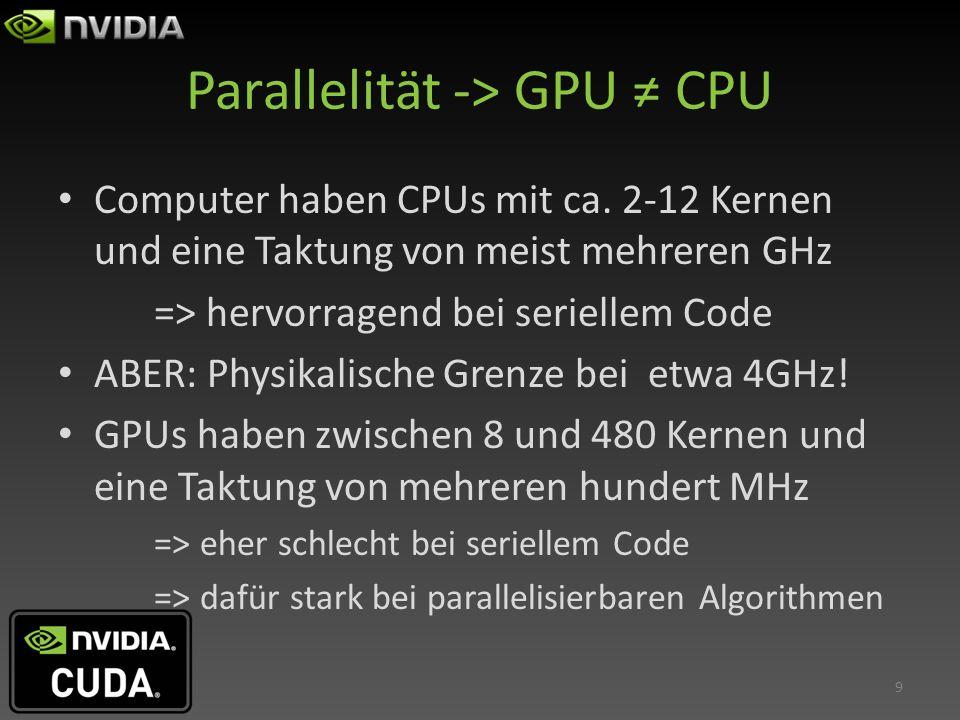 Parallelität bei CUDA Zur Veranschaulichung: Pro Multiprozessor* 16 Blöcke à 1024 Threads zuweisbar, bis zu 2^32-1 Blöcke insgesamt => Auf der eher preiswerten GT 440 etwa 67 Millionen Threads.