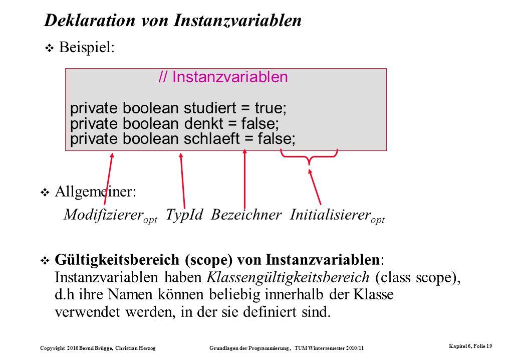 Copyright 2010 Bernd Brügge, Christian Herzog Grundlagen der Programmierung, TUM Wintersemester 2010/11 Kapitel 6, Folie 19 Deklaration von Instanzvar