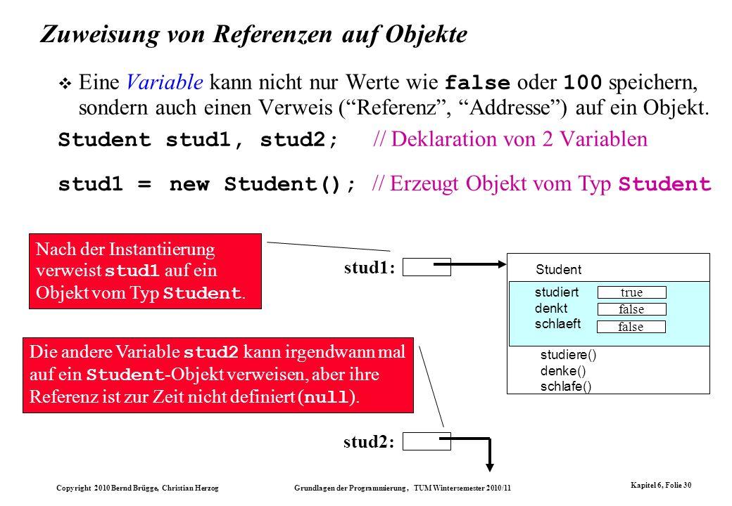 Copyright 2010 Bernd Brügge, Christian Herzog Grundlagen der Programmierung, TUM Wintersemester 2010/11 Kapitel 6, Folie 30 Zuweisung von Referenzen a