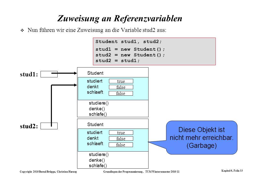 Copyright 2010 Bernd Brügge, Christian Herzog Grundlagen der Programmierung, TUM Wintersemester 2010/11 Kapitel 6, Folie 33 stud2: Zuweisung an Refere