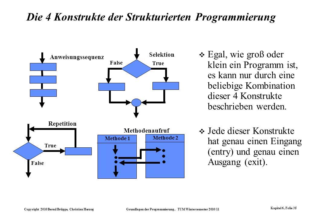 Copyright 2010 Bernd Brügge, Christian Herzog Grundlagen der Programmierung, TUM Wintersemester 2010/11 Kapitel 6, Folie 35 Die 4 Konstrukte der Struk