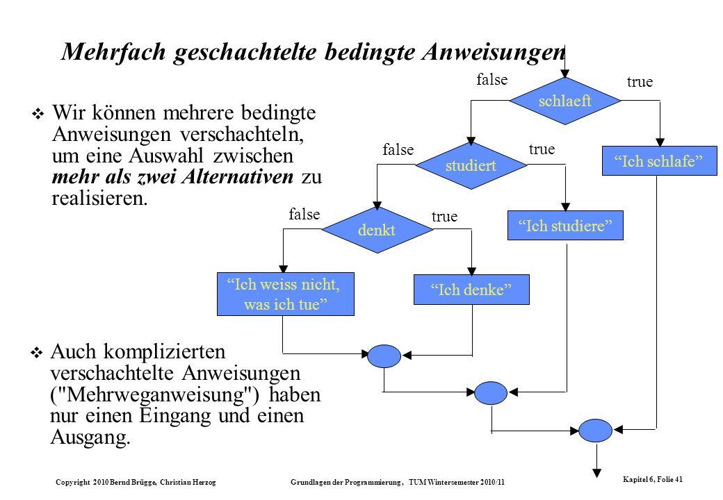 Copyright 2010 Bernd Brügge, Christian Herzog Grundlagen der Programmierung, TUM Wintersemester 2010/11 Kapitel 6, Folie 41 Mehrfach geschachtelte bed