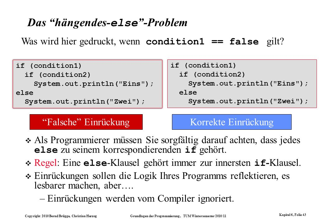 Copyright 2010 Bernd Brügge, Christian Herzog Grundlagen der Programmierung, TUM Wintersemester 2010/11 Kapitel 6, Folie 43 Das hängendes- else -Probl