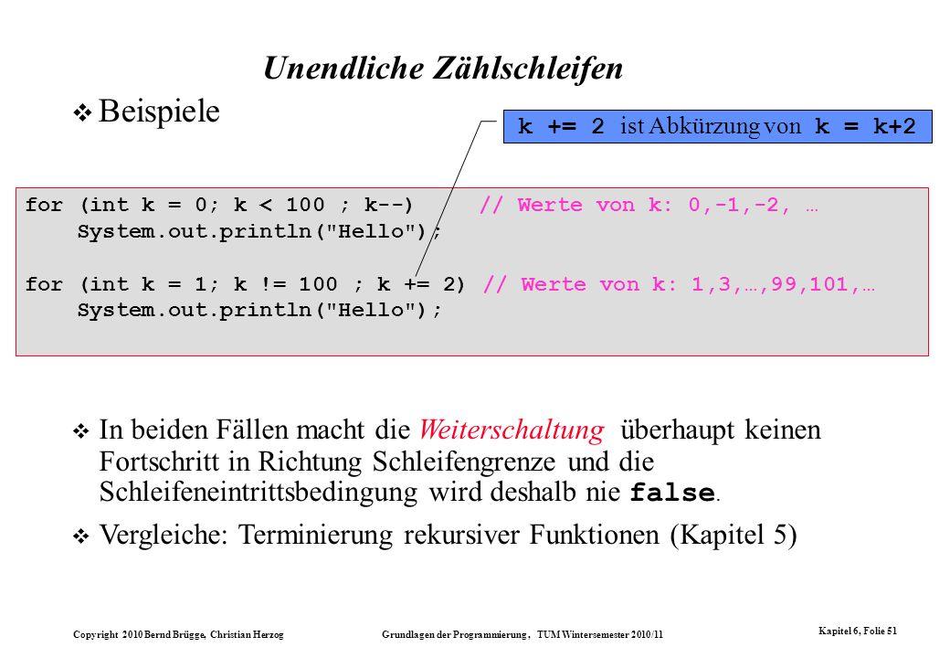 Copyright 2010 Bernd Brügge, Christian Herzog Grundlagen der Programmierung, TUM Wintersemester 2010/11 Kapitel 6, Folie 51 Unendliche Zählschleifen f