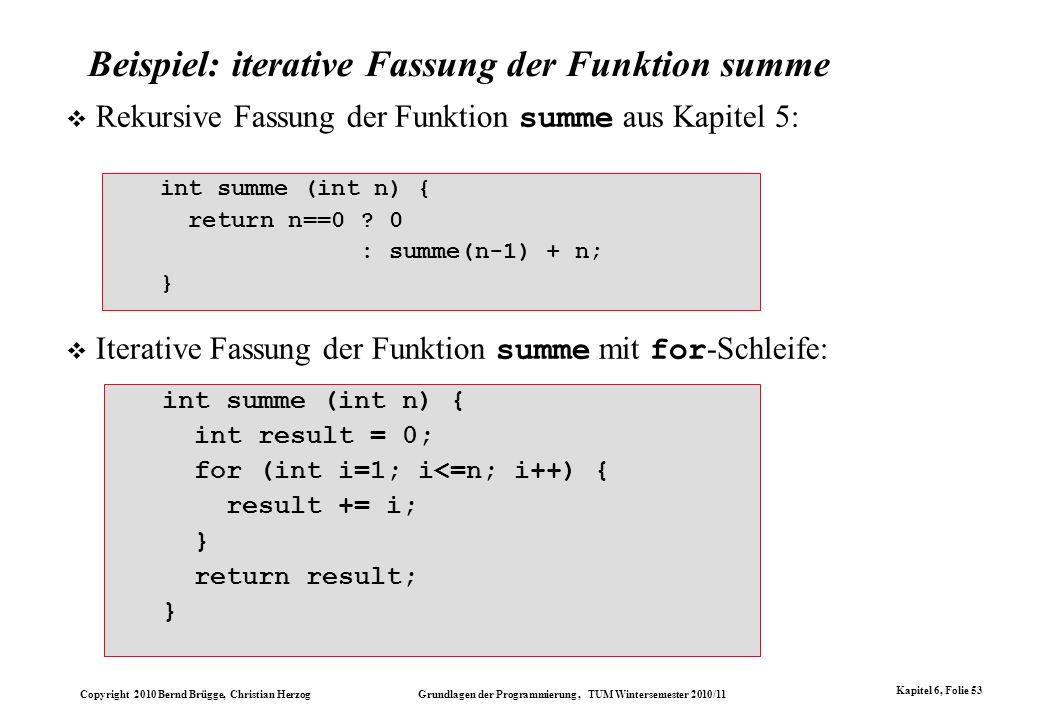 Copyright 2010 Bernd Brügge, Christian Herzog Grundlagen der Programmierung, TUM Wintersemester 2010/11 Kapitel 6, Folie 53 Beispiel: iterative Fassun