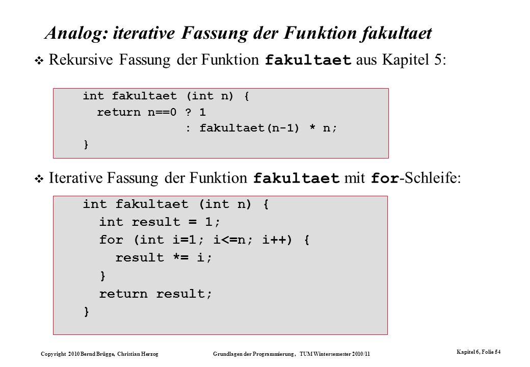 Copyright 2010 Bernd Brügge, Christian Herzog Grundlagen der Programmierung, TUM Wintersemester 2010/11 Kapitel 6, Folie 54 Analog: iterative Fassung