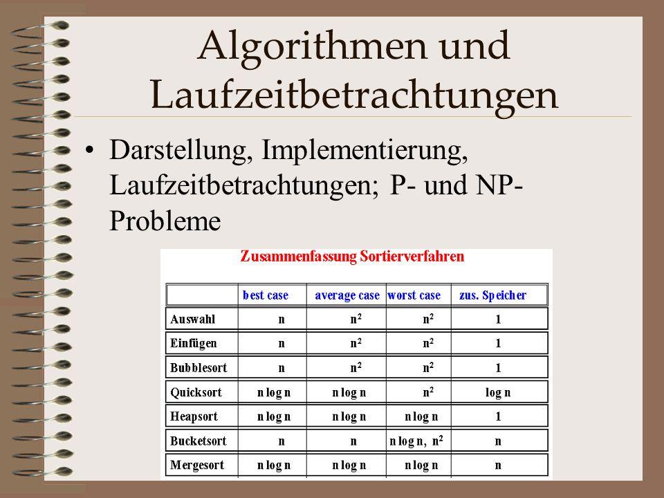 Algorithmen und Laufzeitbetrachtungen Darstellung, Implementierung, Laufzeitbetrachtungen; P- und NP- Probleme