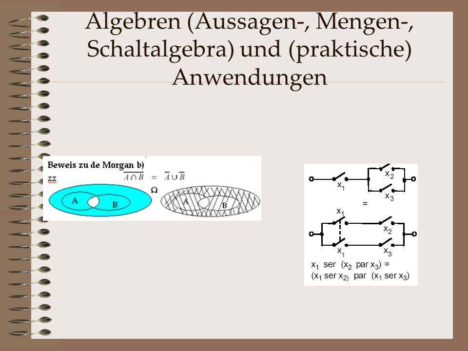 Algebren (Aussagen-, Mengen-, Schaltalgebra) und (praktische) Anwendungen
