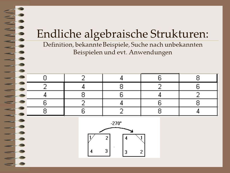 Endliche algebraische Strukturen: Definition, bekannte Beispiele, Suche nach unbekannten Beispielen und evt. Anwendungen