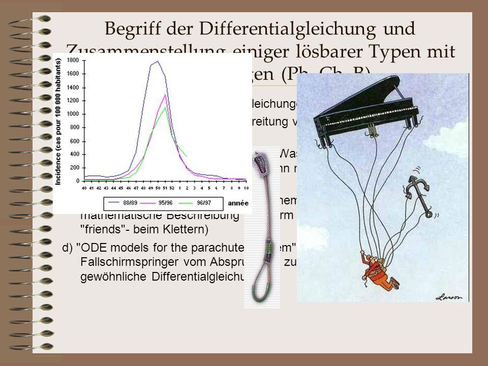 Begriff der Differentialgleichung und Zusammenstellung einiger lösbarer Typen mit Anwendungen (Ph, Ch, B) Einfache, gewöhnliche Differentialgleichunge