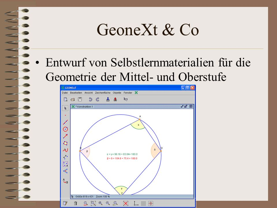 GeoneXt & Co Entwurf von Selbstlernmaterialien für die Geometrie der Mittel- und Oberstufe