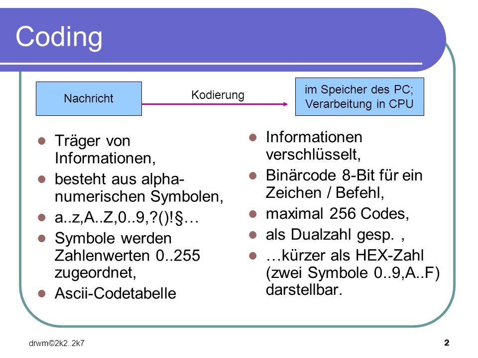 drwm©2k2..2k72 Coding Träger von Informationen, besteht aus alpha- numerischen Symbolen, a..z,A..Z,0..9,?()!§… Symbole werden Zahlenwerten 0..255 zuge
