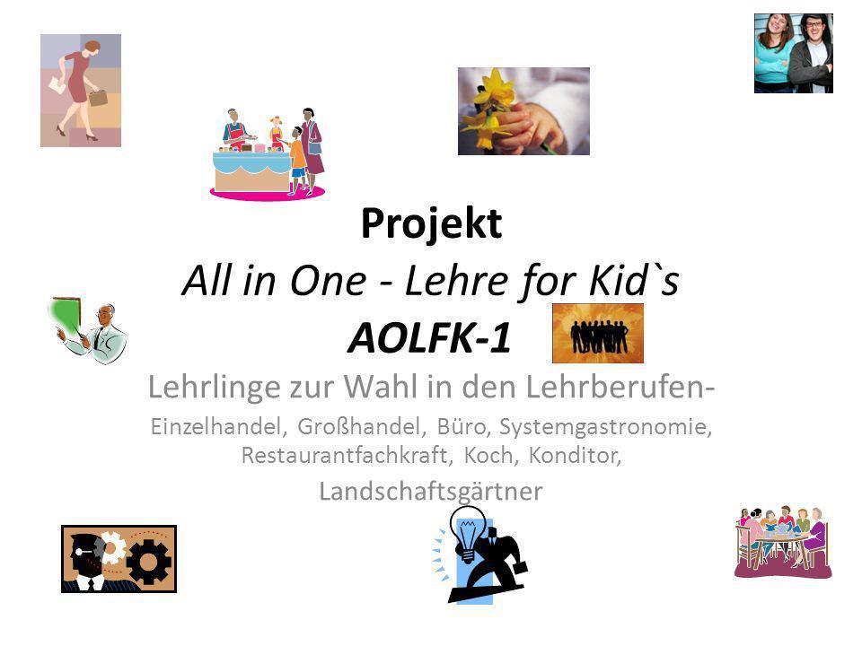Projekt All in One - Lehre for Kid`s AOLFK-1 Lehrlinge zur Wahl in den Lehrberufen- Einzelhandel, Großhandel, Büro, Systemgastronomie, Restaurantfachk