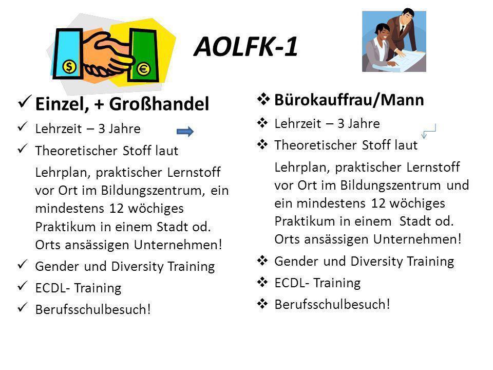 AOLFK-1 Einzel, + Großhandel Lehrzeit – 3 Jahre Theoretischer Stoff laut Lehrplan, praktischer Lernstoff vor Ort im Bildungszentrum, ein mindestens 12