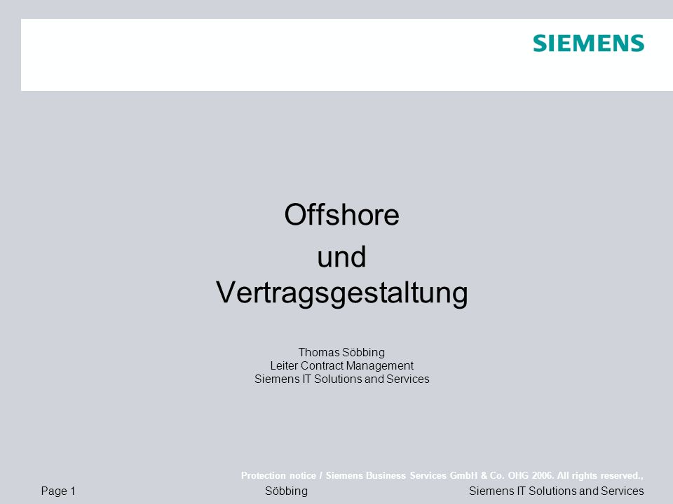 Page 1 Protection notice / Siemens Business Services GmbH & Co.