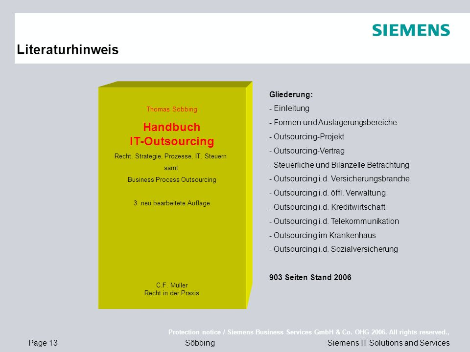 Page 13 Protection notice / Siemens Business Services GmbH & Co.