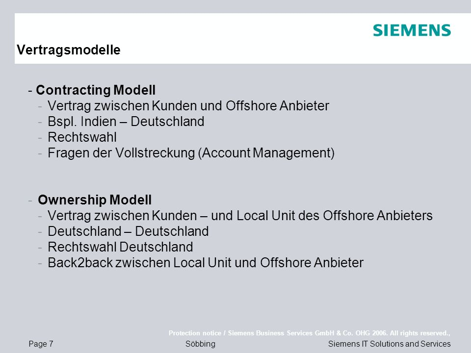 Page 7 Protection notice / Siemens Business Services GmbH & Co.