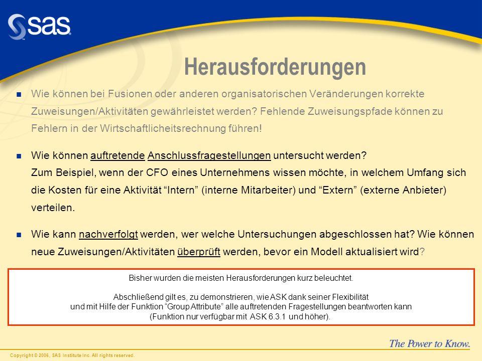 Copyright © 2006, SAS Institute Inc. All rights reserved. Herausforderungen n Wie können bei Fusionen oder anderen organisatorischen Veränderungen kor